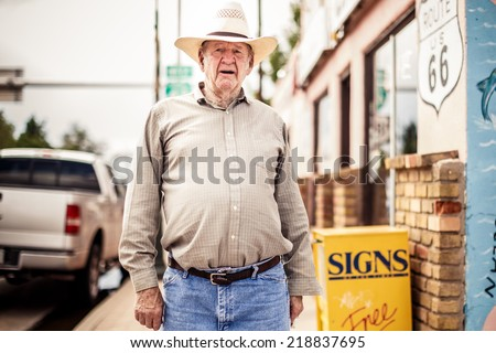 NEW MEXICO, USA - AUGUST 4, 2013: Old man in hat in Gallup on August 4, 2013, New Mexico, USA