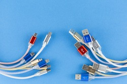 NEW Micro USB (Universal Serial Bus) cables Connectors plugs with copy space universal standard for mobile, computer and Ports peripheral