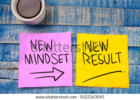 New Mindset New Result. Self Development. Motivational inspirational quotes words. Wooden background