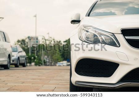 New model car at outdoor parking lot