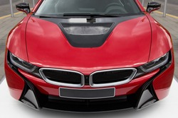 New modern and luxurious red sports car