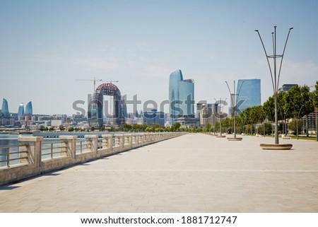New modern boulevard in Baku city . Caspian bay boulvard in Baku, Azerbaijan. National Seaside Park in Baku.