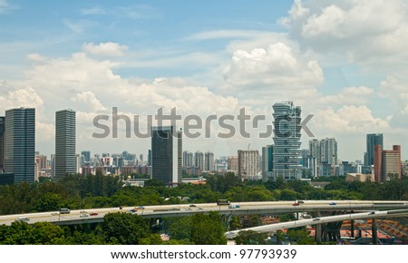 New modern buildings near to the historical centre of Singapore