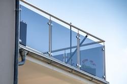 New modern glass balcony railing