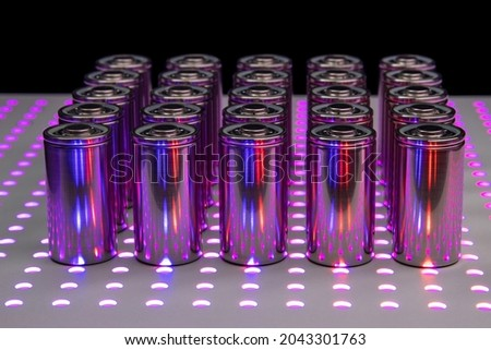New modern high-capacity lithium-ion batteries. A prototype of new batteries on a laboratory table. Zdjęcia stock ©