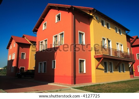 New modern house in residential area with beautiful balcony