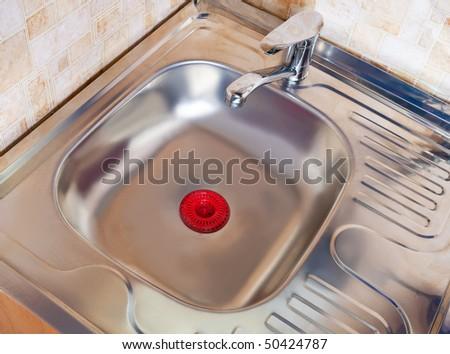 New modern kitchen sink at home kitchen
