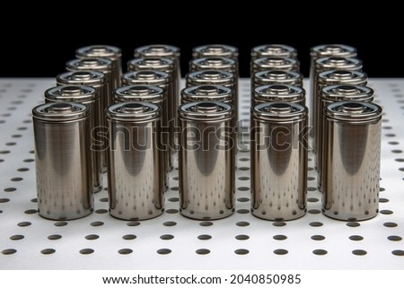 New modern Lithium iron phosphate batteries with increased capacity. A prototype of new batteries on a laboratory table. Zdjęcia stock ©