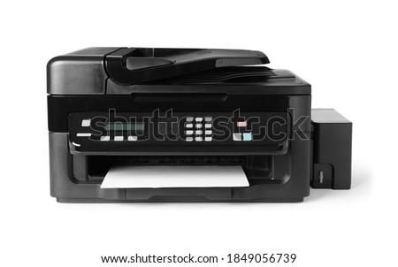 New modern multifunction printer isolated on white Photo stock ©