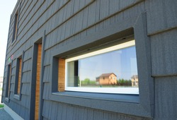 New Modern Passive House Energy Efficiency Facade Wall. Passive House Design Exterior.  Passive House Walls.