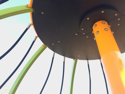 New modern Playground equipment details bolts at park school