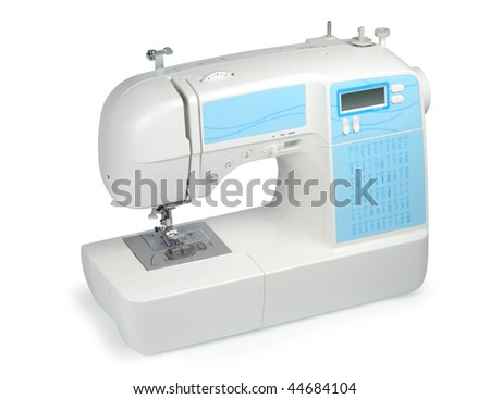 New modern sewing machine isolated with clipping path over white background