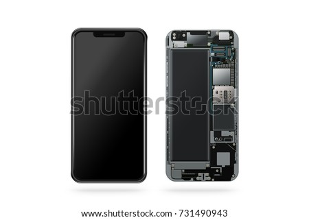 New modern smart phone inside isolated, chip, motherboard, processor, cpu and details, 3d rendering. Smart phone component repair. Cellphone chipset constitution. Telephone scecification  disassembled