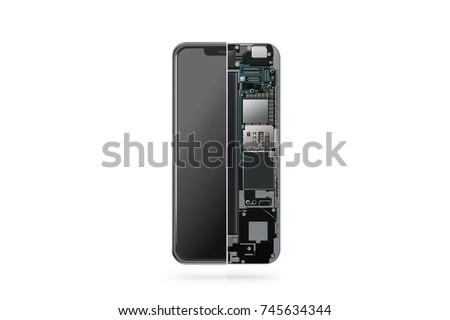 New modern smart phone internal isolated, chip, motherboard, processor, cpu and details, 3d rendering. Smart phone component repair. Cellphone chipset inside. Telephone scecification disassembled
