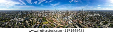 New Modern South London City Aerial Skyline with 360 Degree Panorama View feat. Suburban Neighbourhood and Central London Buildings in the background around Borough, Elephant and Castle and Bermondsey #1191668425