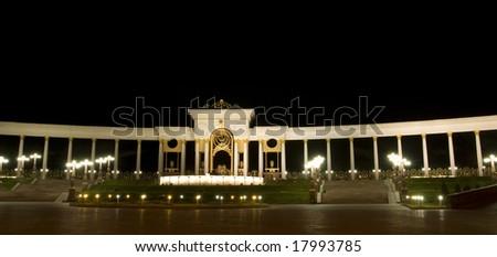 New modern square in almaty, kazakhstan, at night