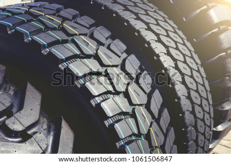New modern truck tire or tyre wheels, light effect