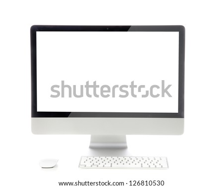 New monitor computer display with keyboard and mouse isolated on a white background