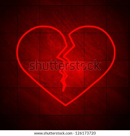 NEW NEON BROKEN HEART!! Classic shape. Fall out of love abstract. Bored lover depression concept, Saint Valentine's Day. Greating card Template This is an isolated 3d render with tiled background. See