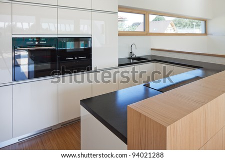 new nice kitchen in interior of new house