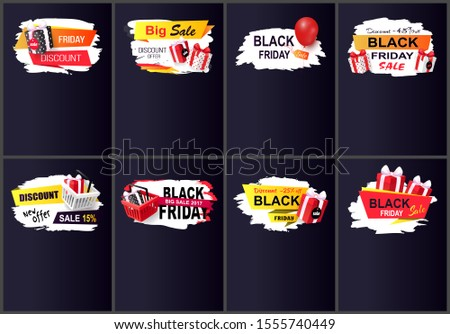 New offer black friday sale, 45 percent discount raster. Sellout of shops, presents with bows and balloon. Clearance promotional discounts offers