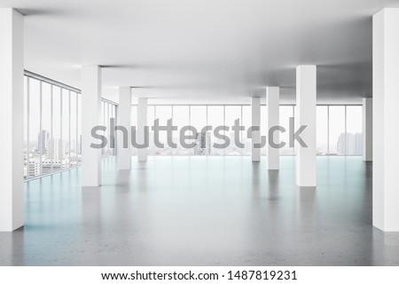 New office interior with panoramic window, new york city view and daylight. 3D Rendering