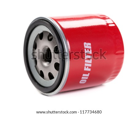New oil filter car in red steel case. Isolate on white.