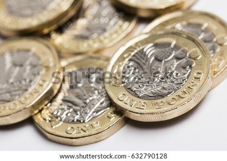 New one pound British sterling coin.