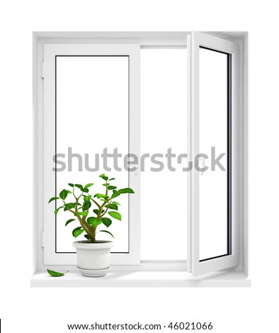 new open plastic window with flowerpot on windowsill - 3d-illustration, isolated on white with clipping path included - stock photo
