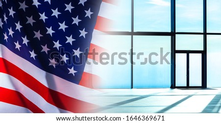 New opportunities. Getting a visa to the United States. Invitation to work in America. Panoramic Windows and an American flag.