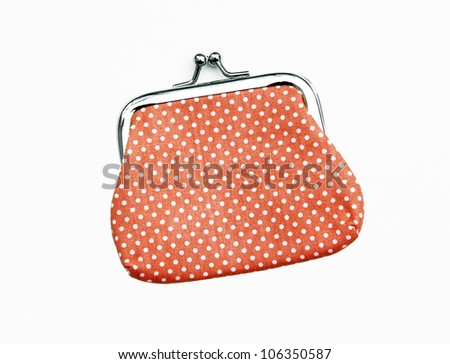 New Orange Knit Change Coin Purse with clasp and polka dots pattern isolated on white background