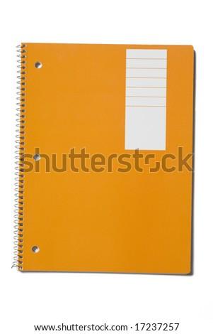 New orange notebook isolated on white
