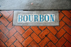 New Orlean, LA,USA,29 December 2019: Bourbon street in New Orlean,Louisiana,USA, in  overcast weather