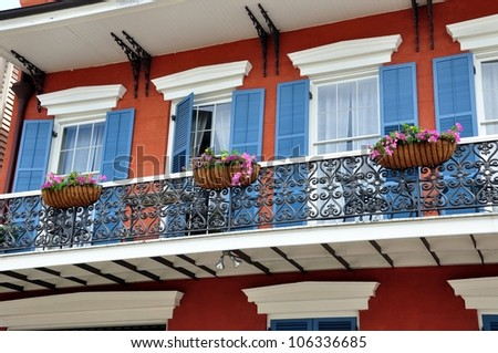 New Orleans French Quarter Balcony With Flower Baskets