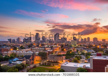 New Orleans, Louisiana downtown city skyline at twilight.