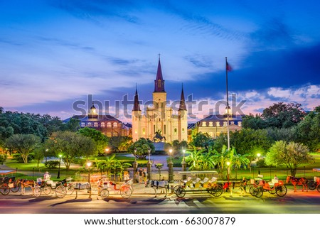 New Orleans, Louisiana, USA at St. Louis Cathedral and Jackson Square. #663007879