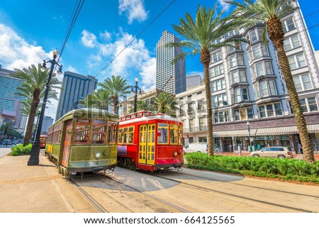 New Orleans, Louisiana, USA street cars.