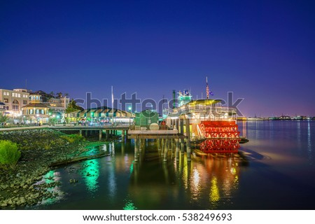 New Orleans paddle steamer in Mississippi river in New Orleans, Lousiana