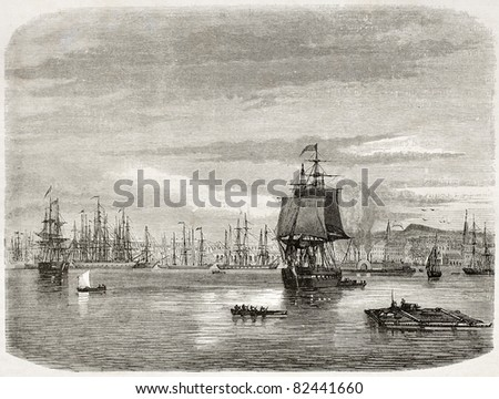 New Orleans port, old view. Created by De Berard after photo of unknown author, published on le Tour du Monde, Paris, 1860 - stock photo