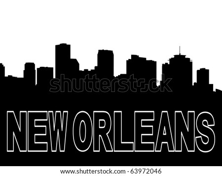 New Orleans skyline black silhouette on white illustration JPEG - stock photo