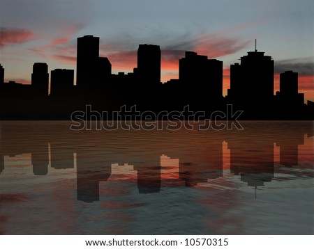 New Orleans skyline reflected in Mississippi River at sunset illustration