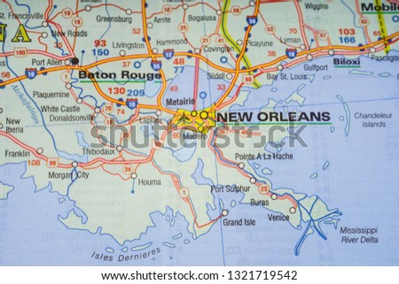 New Orleans In Usa Map.Free Photos Map With Pin Point Of New Orleans In Louisiana Usa