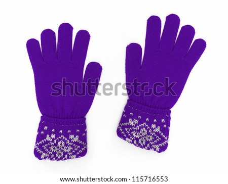 New Pair of Purple Knit Wool Gloves with Pattern isolated on white background