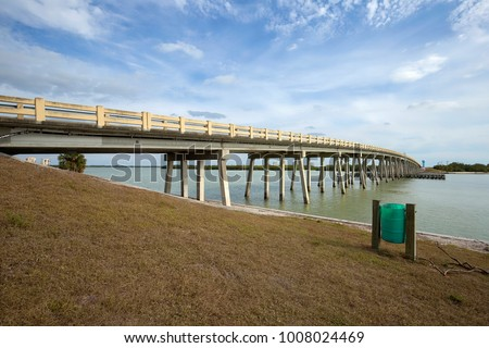 New Pass Bridge connecting Fort Myers Beach and Estero Island to Bonita Beach and the mainland in Florida, USA.