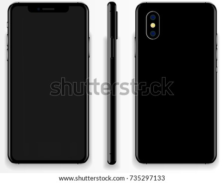 New phone apple front. back, and side of the phone vector drawing eps10 format isolated on white background #735297133