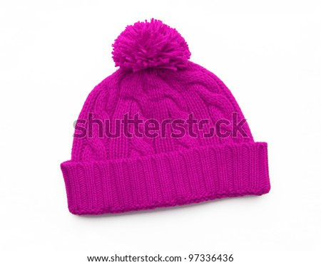 New Pink Knit Wool Hat with Pom Pom isolated on white background