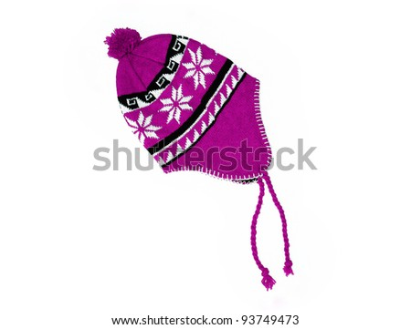 New Pink / Purple knitted wool hat isolated on white background