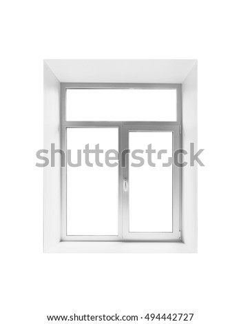 New plastic empty window isolated on white background, front view #494442727