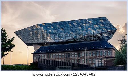 New port building at sundown, Antwerp, Belgium