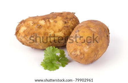New potato and green parsley isolated on white background